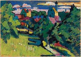 Wassily Kandinsky: Murnau - Ansicht mit Burg, Kirche und Eisenbahn