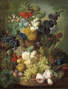 Jan van Os: Stilleben mit Früchten und Blumen
