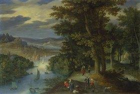 Maerten Ryckaert: Waldige Flußlandschaft mit Spaziergängern und Segelbooten