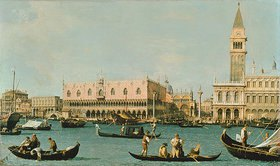 Canaletto (Giov.Antonio Canal): Venedig, Dogenpalast und Marcusplatz vom Bacino di San Marco