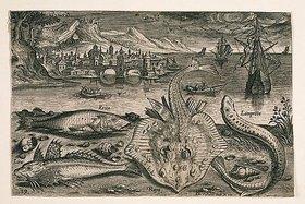 Adriaen Collaert: Landschaft mit Meerestieren, 19 (nummeriert unten links)
