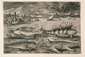 Adriaen Collaert: Landschaft mit Meerestieren, 20 (nummeriert unten links)