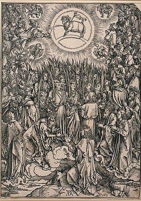 Albrecht Dürer: Aus der Folge 'Die Apokalypse': Anbetung des Lamms. 1498 oder früher