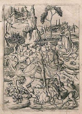 Meister E.S.: Der Heilige Georg im Kampf mit dem Drachen