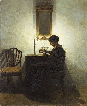 Peter Ilsted: Lesende Frau bei Kerzenschein