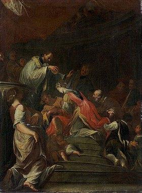 Andrea Pozzo: Der hl. Franz Xaver tauft die Königin Neachile (Farbskizze)