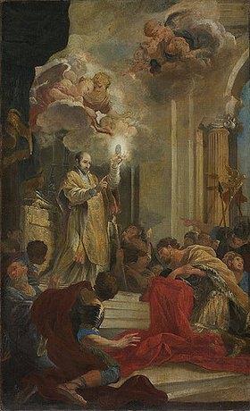 Ludovico Gimignani: Der hl. Ignatius von Loyola erteilt dem hl. Francesco Borgia die Kommunion (Farbskizze)