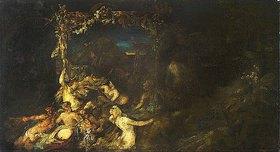 Hans Makart: Bacchanal oder Zug der Kleopatra (Kompositionsentwurf)