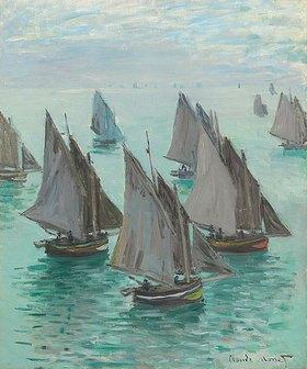 Claude Monet: Fischerboote bei Windstille. (Bateaux de p�che, temps calme.) 1868