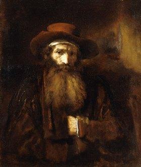 Rembrandt van Rijn: Ein bärtiger alter Mann mit braunem Mantel und rostrotem Hut
