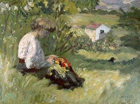 Pierre Bonnard: Junge Frau in einer Wiese sitzend