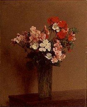 Henri de Fantin-Latour: Rote, rosa und weiße Geranien in einer Glasvase