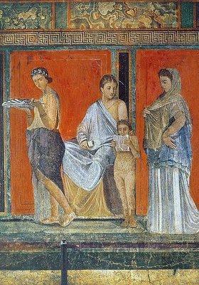 Anonym: Detail des Freskos mit der Darstellung dionysischer Mysterien. 1. Jh. n. Chr
