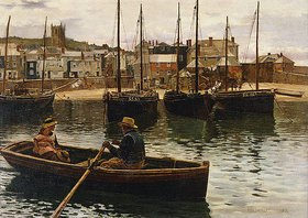 William Henry Bartlett: Im Hafen von St.Ives, Cornwall