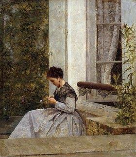 Giuseppe de Nittis: Eine Frau beim Häkeln