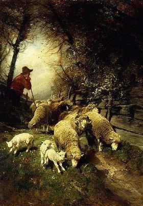 Heinrich von Zügel: Schäfer mit seiner Herde