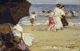 Edward Henry Potthast: The Beach Umbrella. / Der Strandschirm