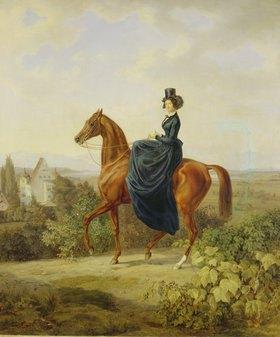 Albrecht Adam: Gräfin Caroline Waldbott von Bassenheim zu Pferde vor Schloß Leutstetten