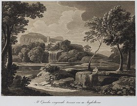 Gaspard Dughet: Landschaft mit einem Kastell über einem Wasserfall