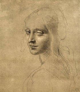 Leonardo da Vinci: Studie eines Engelgesichtes der Felsgrottenmadonna