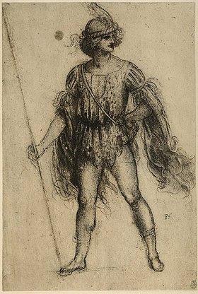 Leonardo da Vinci: Soldat mit einer Lanze, verkleidet für eine Komödie