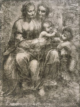 Leonardo da Vinci: Maria mit dem Kinde, mit der heiligen Anna und Johannes der Täufer als Kind