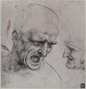 Leonardo da Vinci: Studie eines Männerkopfes für die 'Schlacht von Anghiari'