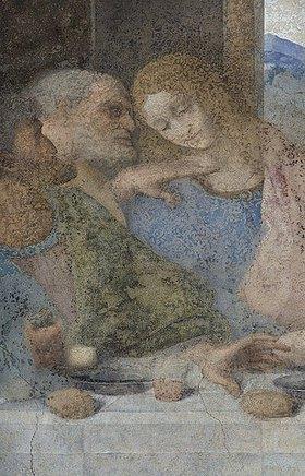 Leonardo da Vinci: Das letzte Abendmahl. Detail: Die Apostel Judas, Peter und Johannes