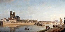 Johann Philipp Eduard Gaertner: Magdeburg an der Elbe, Ansicht von Ost nach West