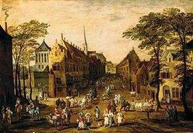Sebastian Vrancx: Belebte Straße in einer Stadt