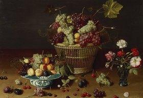 Jan Soreau: Trauben, Pfirsiche und Pflaumen in einem Korb