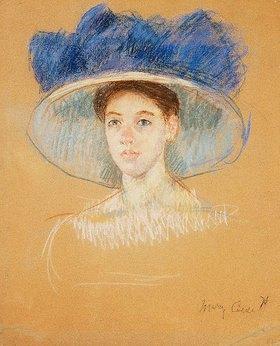 Mary Cassatt: Kopf einer Frau mit großem Hut