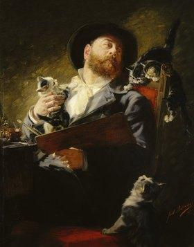 Julius Adam: Entre Nous (Selbstbildnis mit Katzen)