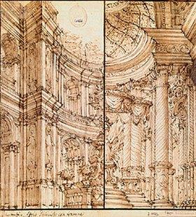 Bibiena: Zweigeteilte Skizze einer Nische eines Palasthofes mit Aufschrift Atrio deli