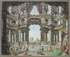 Giuseppe (Galli da) Bibiena: Bühnenbildentwurf zu Pietro Metastasios Didone Abbandonata. Dresden