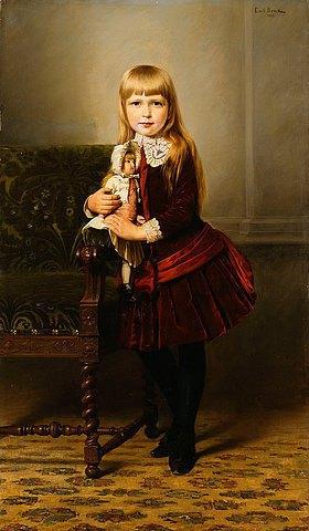 Emil Brack: Porträt eines Mädchens mit ihrer Puppe