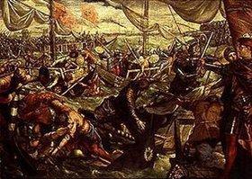 Tintoretto (Jacopo Robusti): Ludovico II.Gonzaga besiegt die Venezianer auf der Etsch bei Legnano