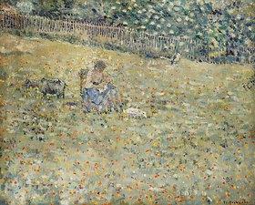Frederick Karl Frieseke: Frau mit einer Ziege auf einer Blumenwiese