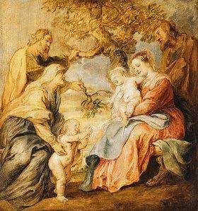 Peter Paul Rubens: Die heilige Familie mit Elisabeth, Zacharias und Johannes dem Täufer