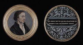 Hans Holbein d.J.: Bildnis des Philipp Melanchthon. Ornament mit Sinnspruch