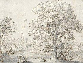 Matthäus Merian d.Ä.: Landschaft mit Erntearbeitern