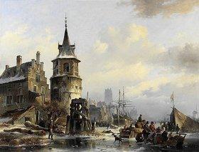 Jan Michael Ruyten: Holländische Winterlandschaft mit altertümlicher Stadt am Kanal