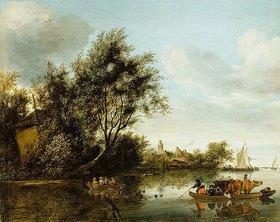 Salomon van Ruysdael: Eine Flusslandschaft mit einer Scheune zwischen Bäumen und einem Fährschiff mit Passagieren und Vieh