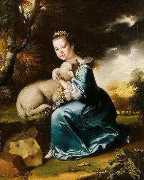 Joseph Wright of Derby: Porträt von Miss Frances Warren in einem blauen Kleid, ein Lamm haltend