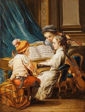 Charles André van Loo: Die vier Künste - die Musik. (siehe auch Bildnummern 42268, 42269 und 42271)