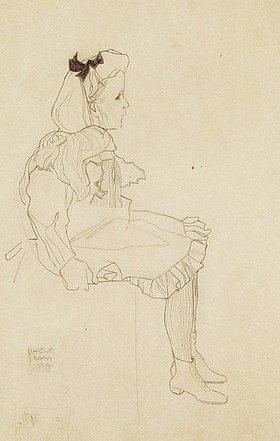 Egon Schiele: Sitzendes Mädchen mit Haarmasche
