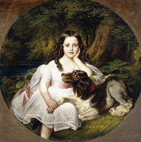 Friedrich August von Kaulbach: Ein junges Mädchen mit ihrem Hund in einer Waldlandschaft