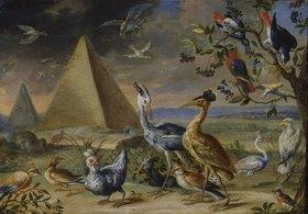 Jan van Kessel: Die vier Erdteile. Detail aus der Tafel Asien: Pyramide