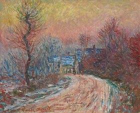 Claude Monet: Entrée de Giverny en hiver, soleil couchant