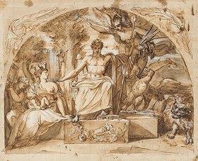 französische Schule: Napoléon siégeant sur un trône avec l'allégorie de la Renommée et l'allégorie de Rome qui tient Napoléon II dans ses bras